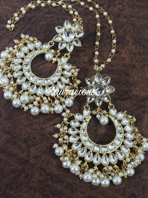 Kundan Earrings with Pearl Kaanchain | kauracious.com
