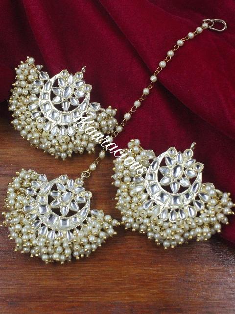 Pearl Beaded Kundan Stud Style Maang tikka & Earrings set | kauracious.com