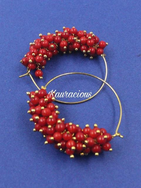 Pearl Cluster Bali Hoop Earrings | Kauracious.com