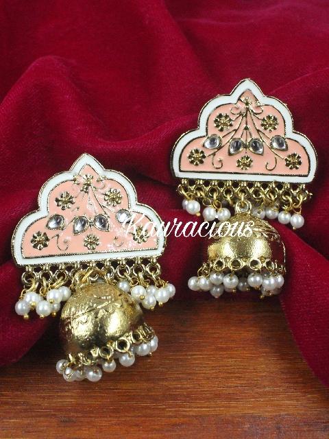 Antique coloured Meenakari Jhumki | Kauracious.com