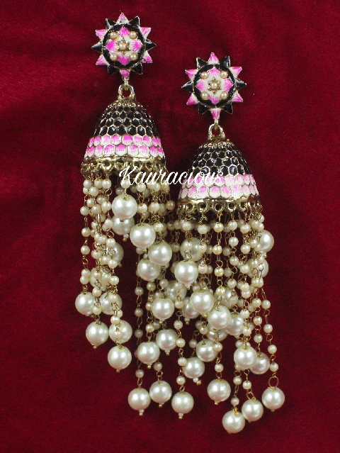 Long Pearl Layered Meenakari Jhumki Earrings | Kauracious.com