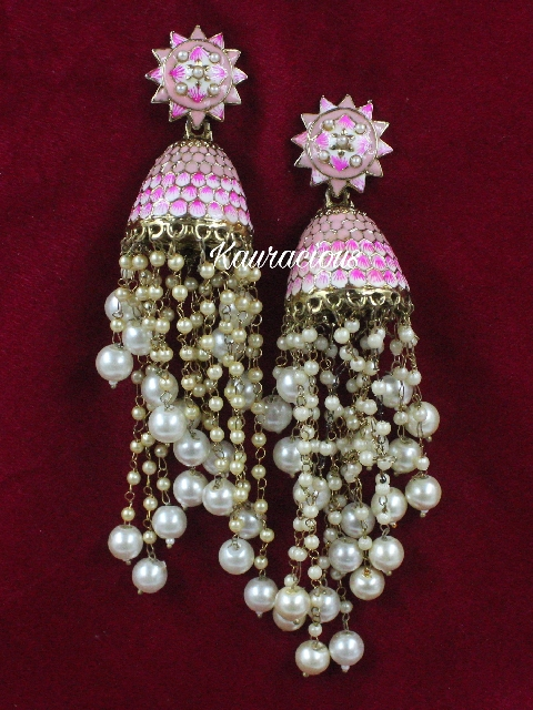 Long Pearl Layered Meenakari Jhumki Earrings | kauracious.com