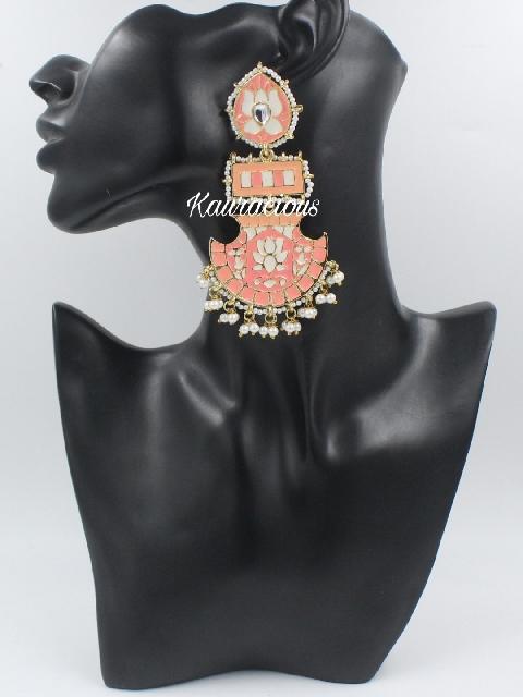 Long Drop Meenakari Chandbali Earrings | Kauracious.com