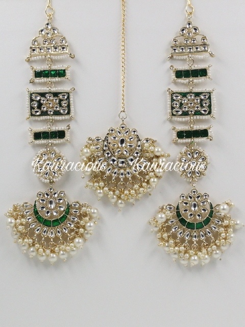 Meenakari kanpatti earrings with maang tikka set | kauracious.com