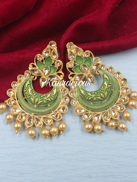 Mint Based Meenakari Earrings | Kauracious.com