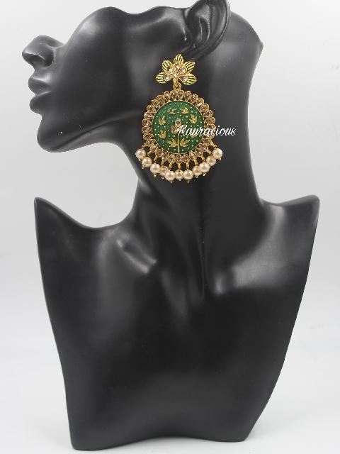 Chandbali Style Mint Meenakari Earrings   Kauracious.com