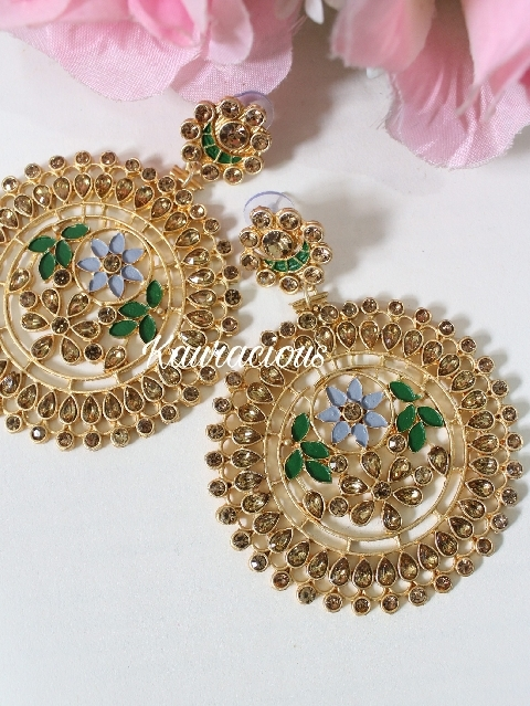 Oversized Floral Carved Meena Work Earrings | Kauracious.com