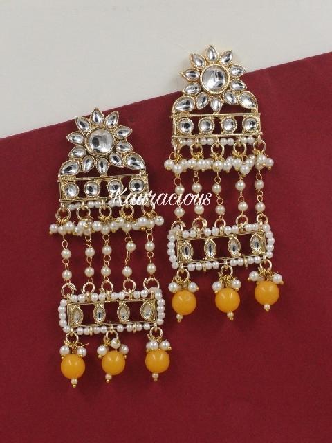 Faux Pearl Kundan Drop Earrings | Kauracious.com