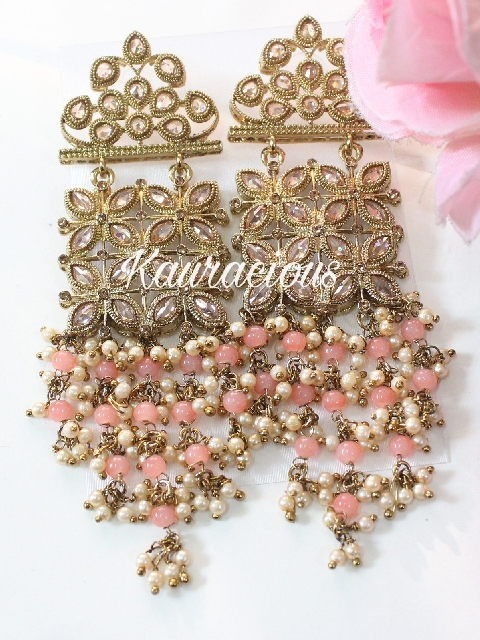 Gold Plated Reverse Ad Stoned Traditional Drop Chandbali Earrings | kauracious.com