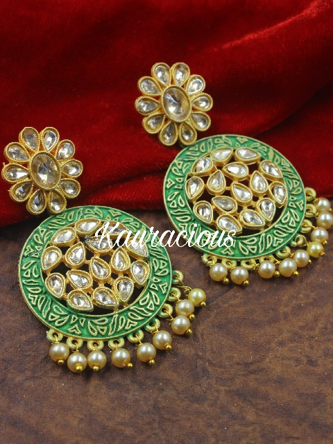 Medium Sized Mint Danglers Earrings | kauracious.com