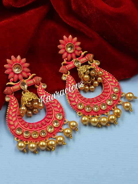Mint Meenakari Danglers with small Jhumki Earrings | kauracious.com