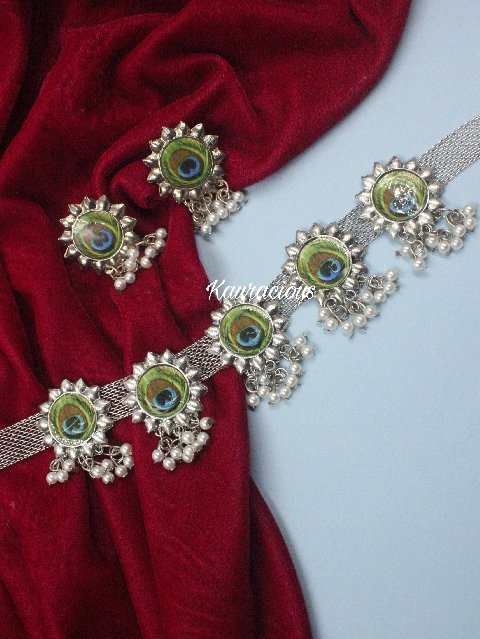 Peacock Meena work Oxidised choker set  | kauracious.com