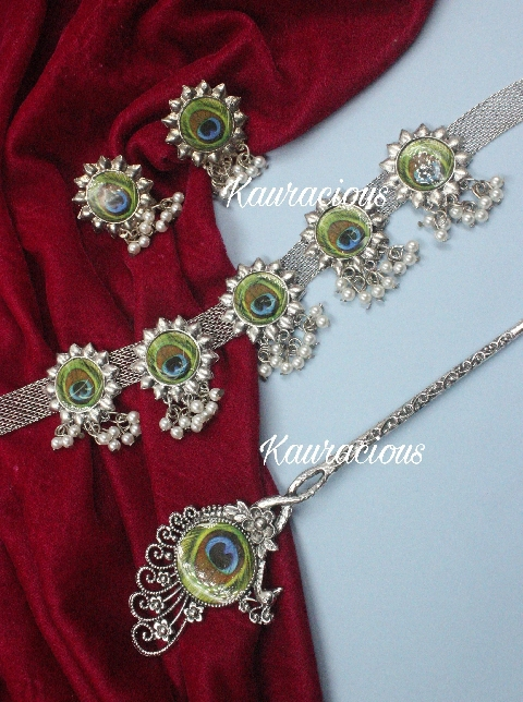 Peacock Meena Work Oxidised Choker Set with Hairstick | Kauracious.com