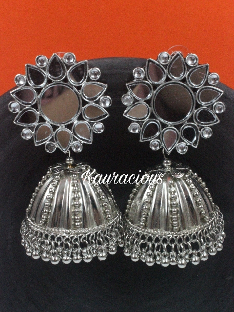 Mirror Jhumka Earrings | kauracious.com