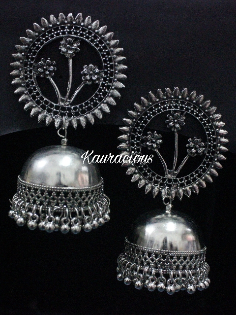 Floral Oversized Oxidized Jhumka Earrings | kauracious.com