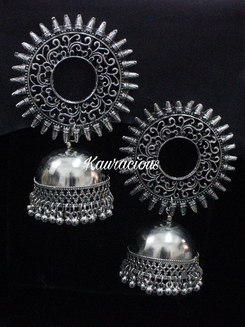 Oversized Oxidized Jhumka Earrings | kauracious.com