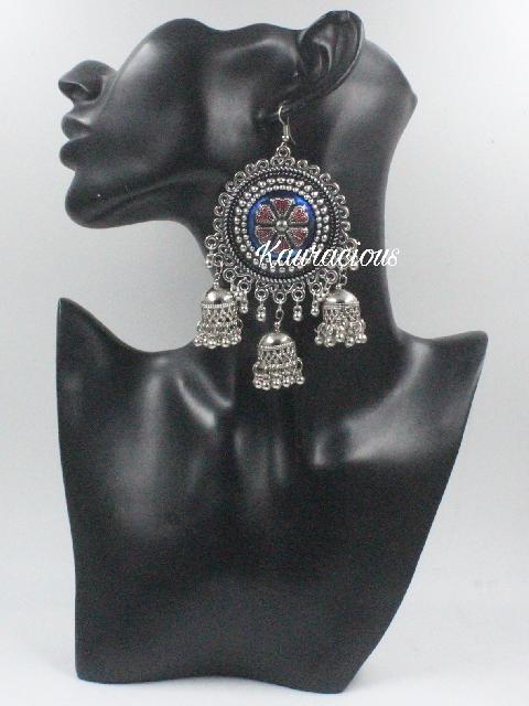 Oxidized Meena Tripple Jhumki Chandbali | Kauracious.com