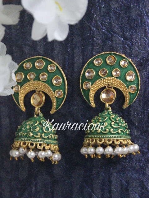Mint Meenakari Jhumka Earrings | Kauracious.com
