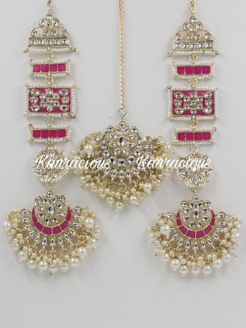 Meenakari Kanpatti Earrings With Maang Tikka Set | kauracious.com