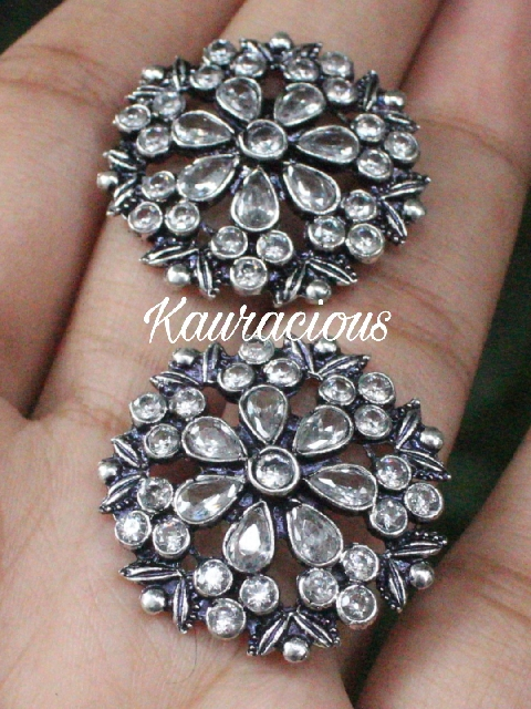 Floral Pattern AD studded Studs Earrings | Kauracious.com
