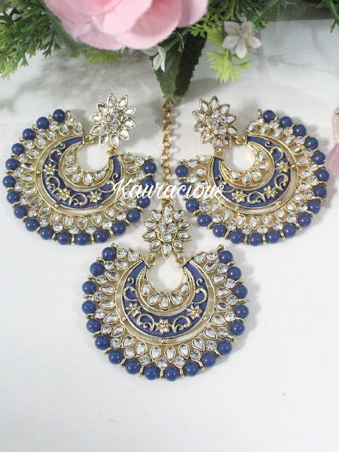 Blue Kundan And Meenakari Oversized Maang Tikka Set | kauracious.com