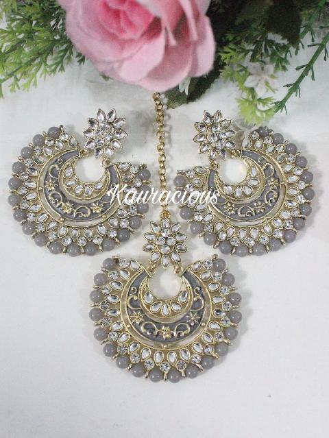 Grey Kundan And Meenakari Oversized Maang Tikka Set | Kauracious.com