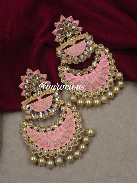 Mint Based Layered Meenakari Danglers Earrings   Kauracious.com