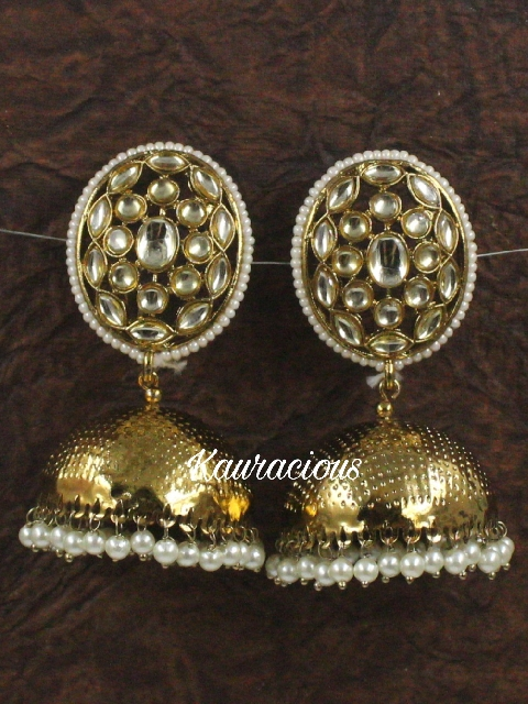 Oval shaped Traditional Jhumka Earrings | Kauracious.com