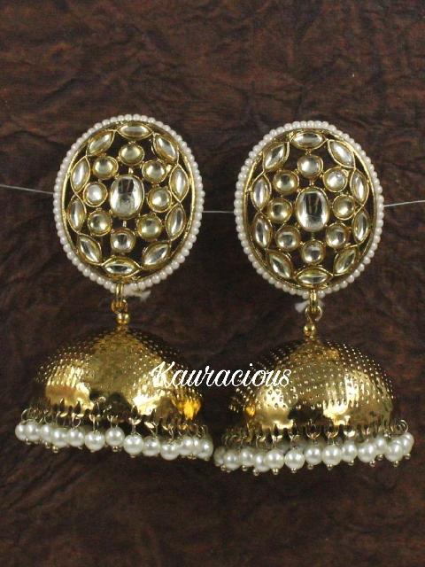 Oval shaped Traditional Jhumka Earrings | kauracious.com