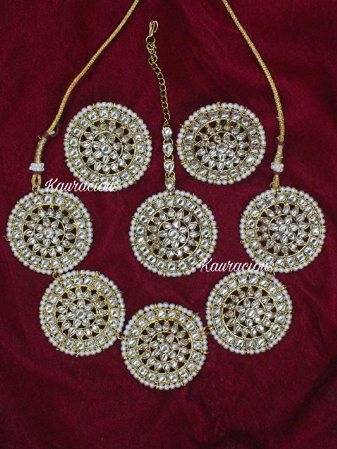 Faux Kundan Studded Circular Choker, earrings and Tikka set  | Kauracious.com