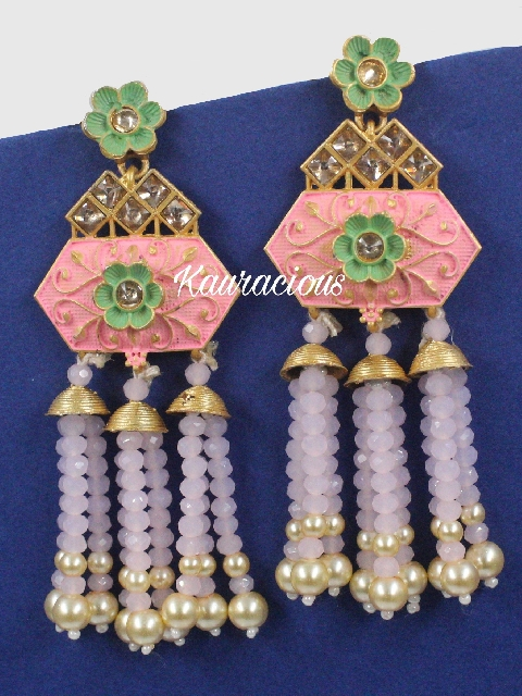 Meena Work Beads Tassel Earrings | Kauracious.com