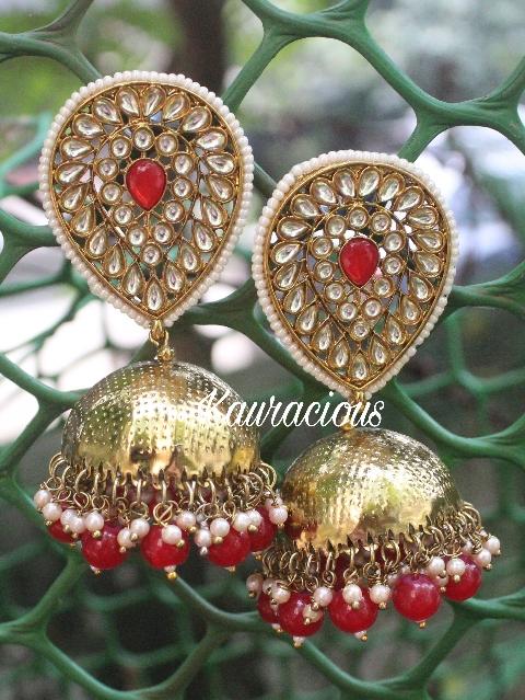 Oversized Oval Shaped Kundan Jhumka Earrings   Kauracious.com