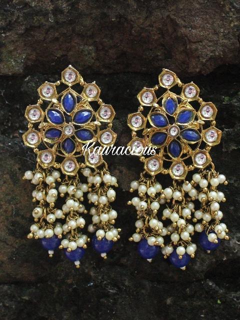 Faux Kundan studded Pearl Layered stud earrings  | Kauracious.com