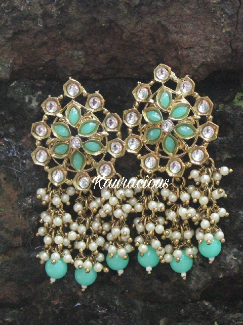 Faux Kundan Studded Pearl Layered Stud Earrings | Kauracious.com
