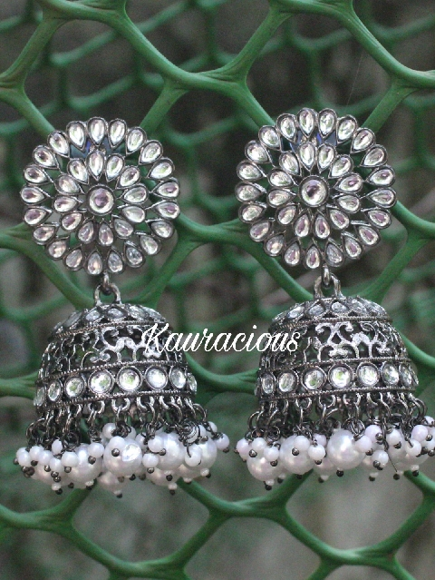 Black Metal Oversized Jhumka Earrings | Kauracious.com