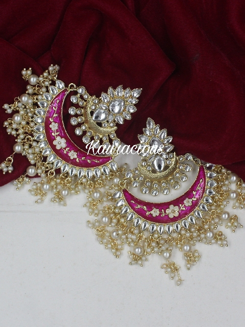 Oversized Chandbali Danglers Earrings | Kauracious.com