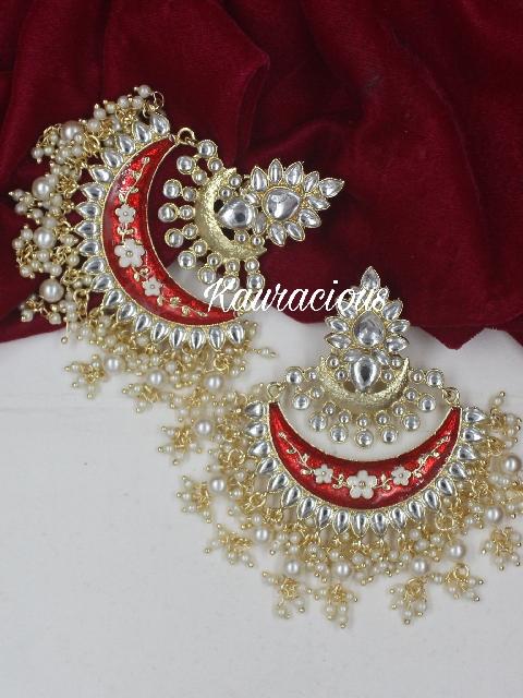 Oversized Chandbali Danglers Earrings | Kauracious.com