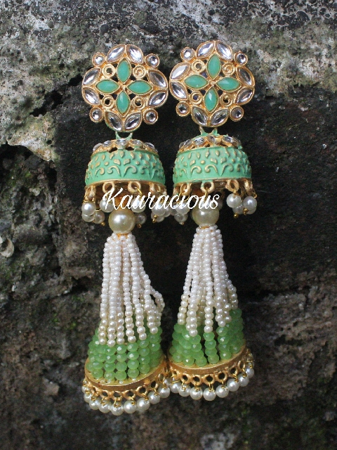 Pearl Beaded Long Jhumki Earrings | Kauracious.com