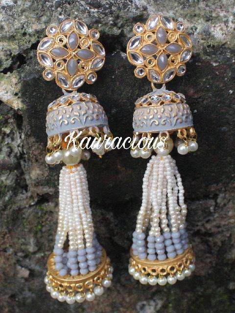 Pearl Beaded Long Jhumki Earrings | Kauracious.com