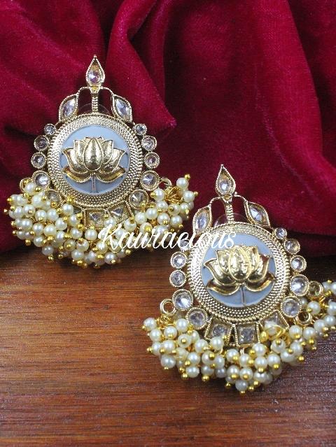 Polki Studded Lotus Carved Meenakari Studs | Kauracious.com