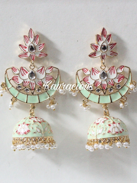 Long Meenakari Jhumki Earrings | Kauracious.com