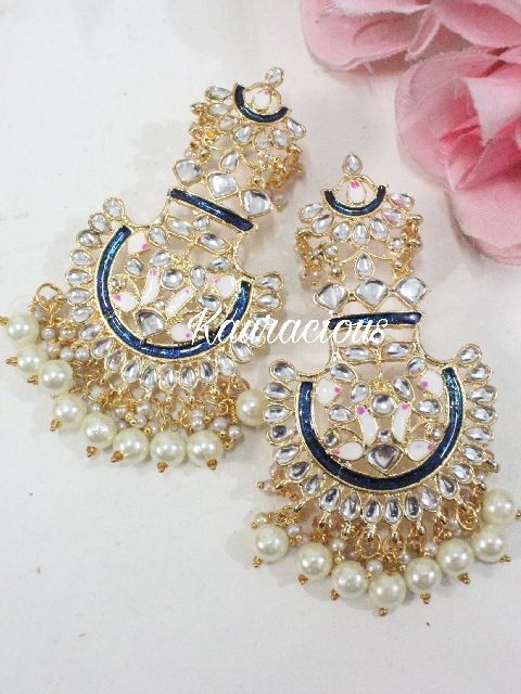 Meenakari Chandbali Earrings | Kauracious.com