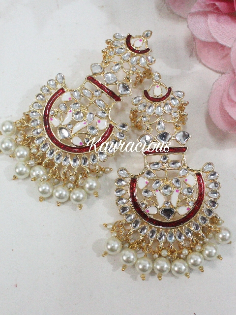 Meenakari Chandbali Earrings | Kauracious.com
