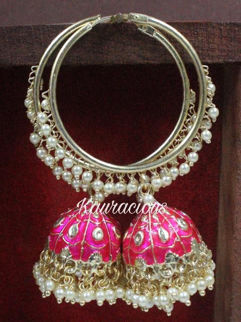 Traditional Meenakari Hoops Earrings | Kauracious.com