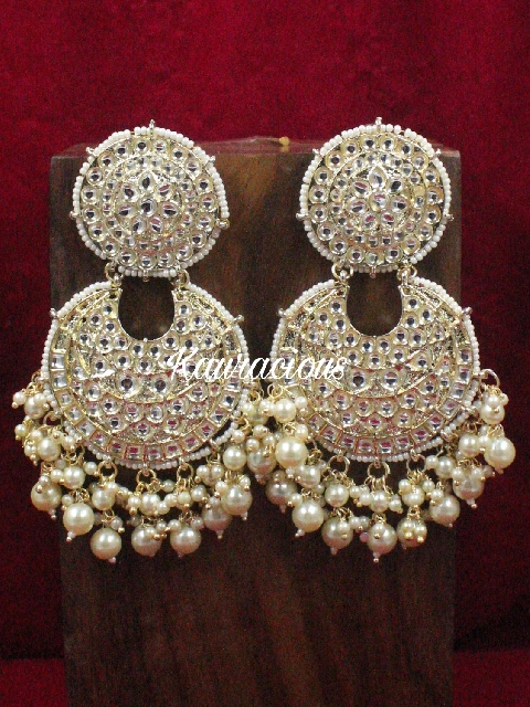 Oversized Dabi Kundan Jhumka Earrings | Kauracious.com