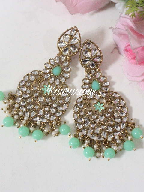 Long Kundan Danglers Earrings | Kauracious.com