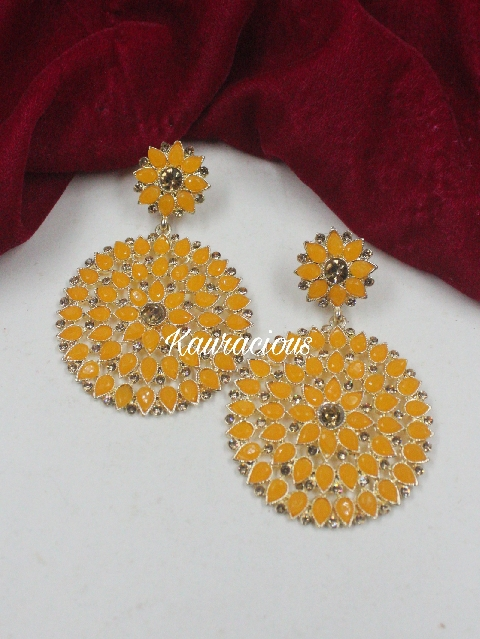 Faux Stone Studded Traditional Earrings | Kauracious.com