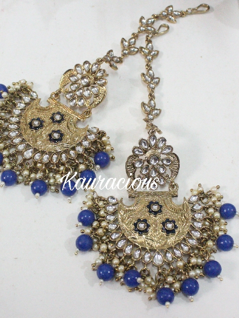 Gold Toned & Faux Pearls Kundan Earrings With Ear Chain | kauracious.com