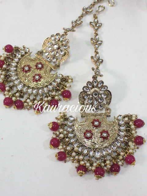 Gold Toned & Faux Pearls Kundan Earrings With Ear Chain. | kauracious.com