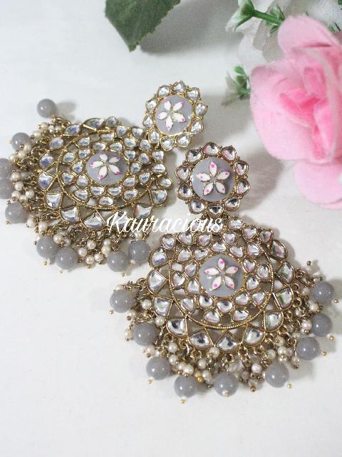 Faux Kundan Studded Meena Work Chandbali Earrings | kauracious.com